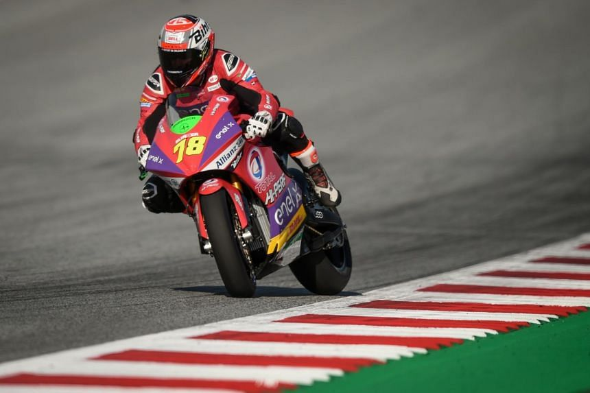 Tech 3 E-racing's French rider Kenny Foray rides his motorbike during the second free practice session of the Moto E event of Austrian Moto GP Grand Prix in Spielberg on August 9, 2019.