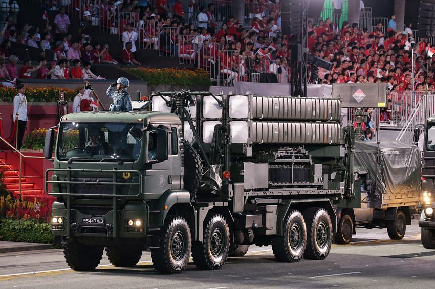The Aster-30 making its debut in the mobile column. Operated by a crew of three, it is the Singapore Armed Forces' next-generation, surface-to-air missile system.