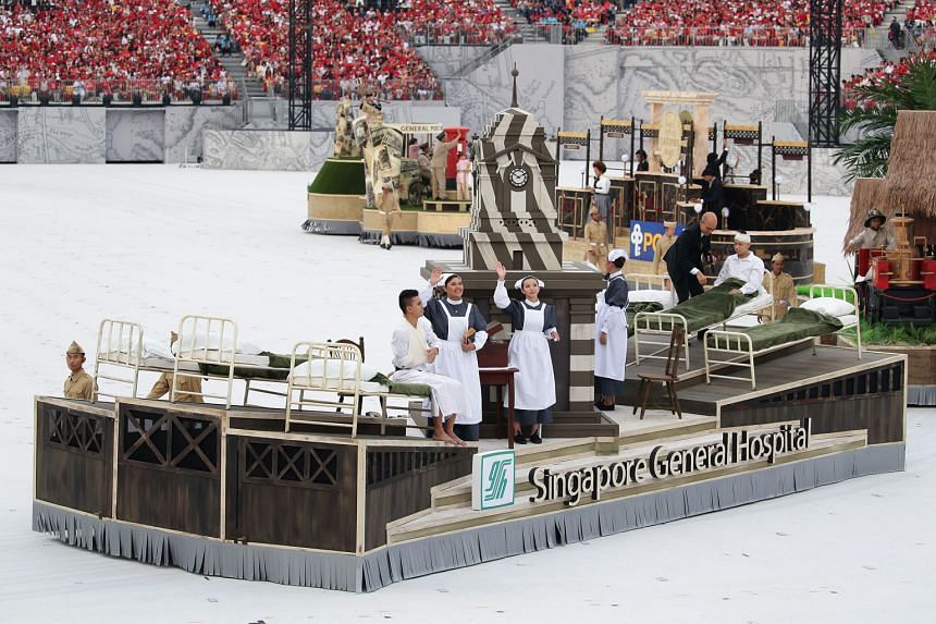 The Singapore General Hospital float depicted various aspects of the hospital in its early days, including a clock tower that was built in the 1920s and still stands at the hospital today.