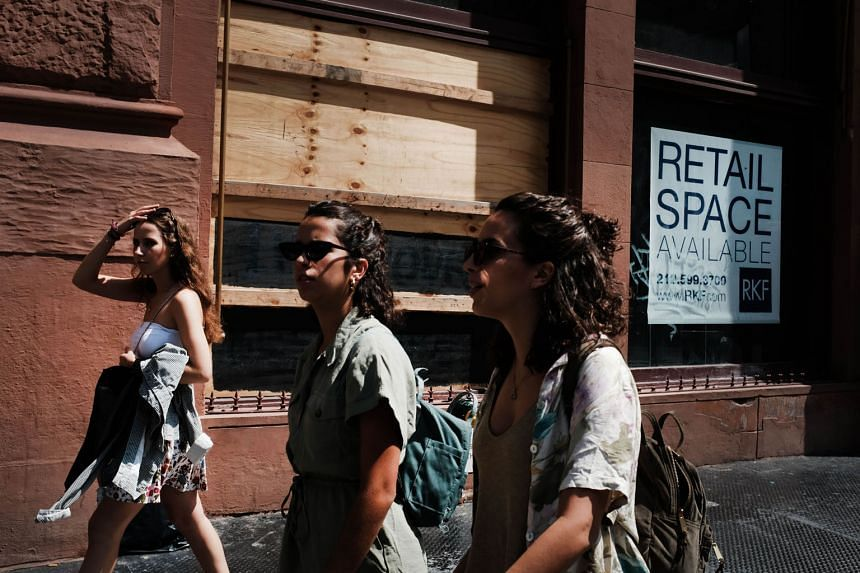 A store that has closed down in Manhattan, New York. The United States is still in robust growth, with historically low unemployment rates, but underlying the worry is dwindling investor confidence.