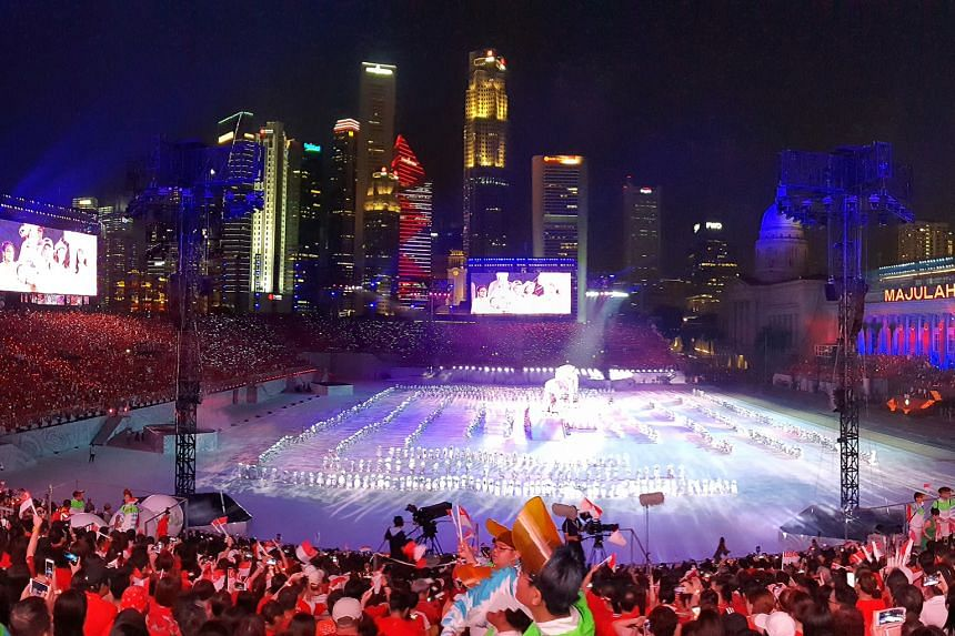 Spectators being dazzled by a performance involving the largest-ever NDP prop - a 6m-tall metallic lion weighing about 1,000kg. This photo was captured using the Panorama mode.