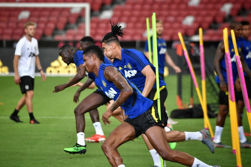 Marcus Rashford (front) was part of United's squad in Singapore for last month's ICC match against Inter Milan. He scored 10 league goals last term and will be his team's main striker for the upcoming campaign. ST PHOTO: ARIFFIN JAMAR