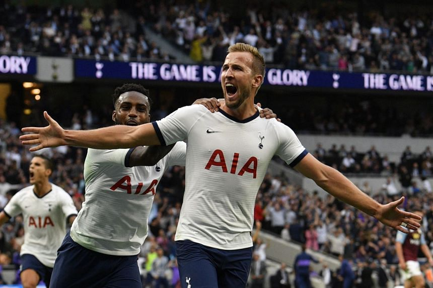 Tottenham Hotspur's Harry Kane reacts after he scores the 2-1 goal.