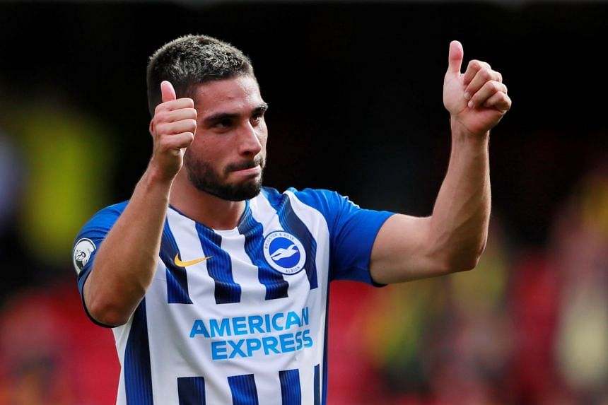 Brighton's Neal Maupay celebrates after the match.
