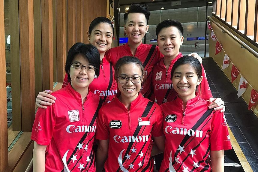 Clockwise, from top left: Daphne Tan, Shayna Ng, New Hui Fen, Bernice Lim, Charlene Lim and Cherie Tan will represent Singapore at the Women's World Bowling Championships in Las Vegas this month. PHOTO: SINGAPORE BOWLING