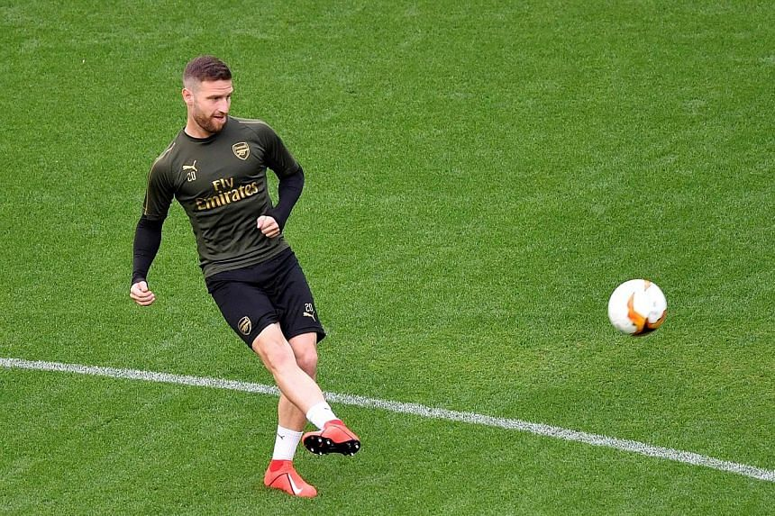 Shkodran Mustafi's (left) future at the Emirates has been thrown into doubt with Arsenal's capture of David Luiz, a direct competitor to the German's position at the heart of defence. PHOTO: AGENCE FRANCE-PRESSE