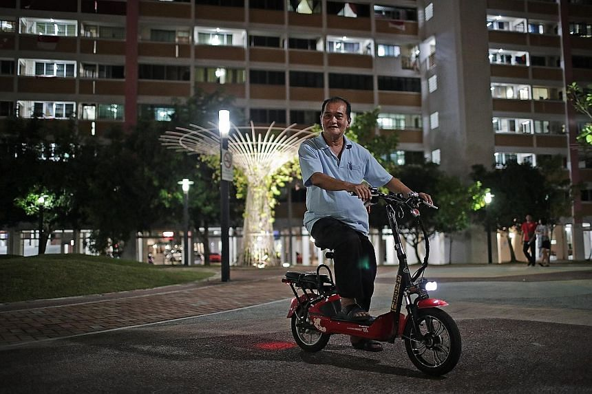 Mr Tay Kim Yong switched from riding a motorcycle to an e-scooter as a safer mode of transport to commute from his home in Tampines to his workplace in Ubi. He also relies on it to carry out chores such as grocery shopping.