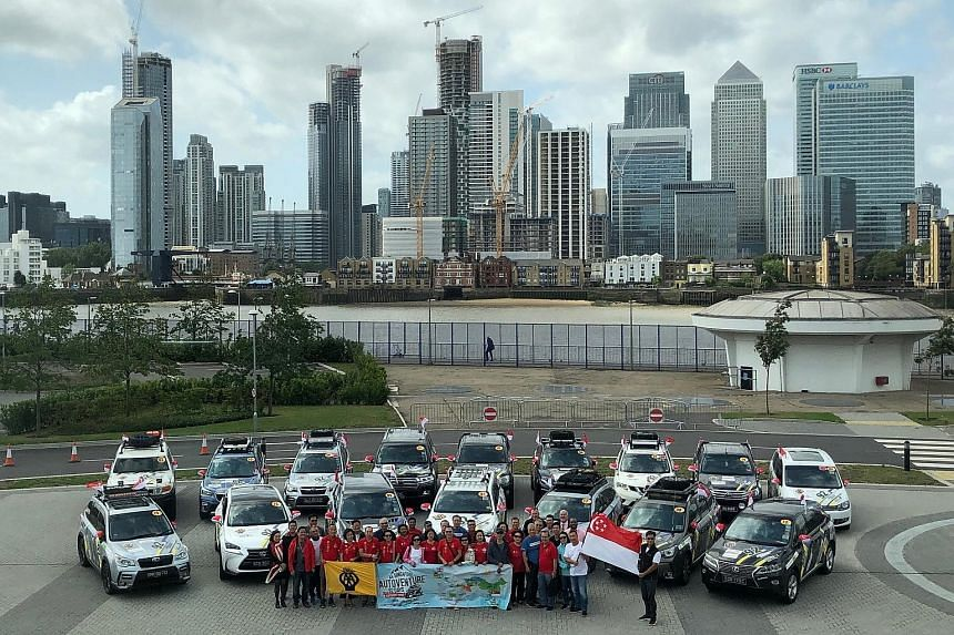 The group of Singapore driving enthusiasts, comprising 31 participants, will travel in a convoy of 16 cars on a 22,000km National Day drive that commemorates the city-state's bicentennial.