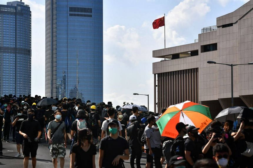 Protesters forming up at Harcourt Road before their clash outside the Legislative Council on Aug 5, 2019.
