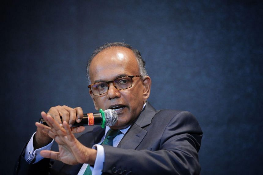 In a picture taken on July 24, Minister for Home Affairs and Minister for Law K Shanmugam speaks at a forum organised by the Ministry of Home Affairs and the Institute of Policy Studies.