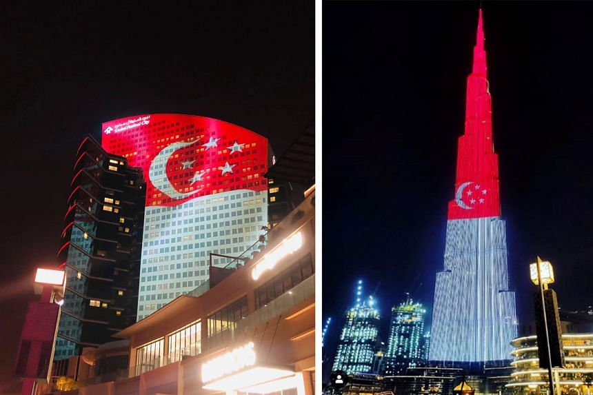 The image of the Singapore flag projected on the facades of the world-renowned Burj Khalifa and Dubai Festival City Mall(far left) last Friday to celebrate Singapore's National Day. The Roads and Transport Authority in Dubai also conveyed National Da