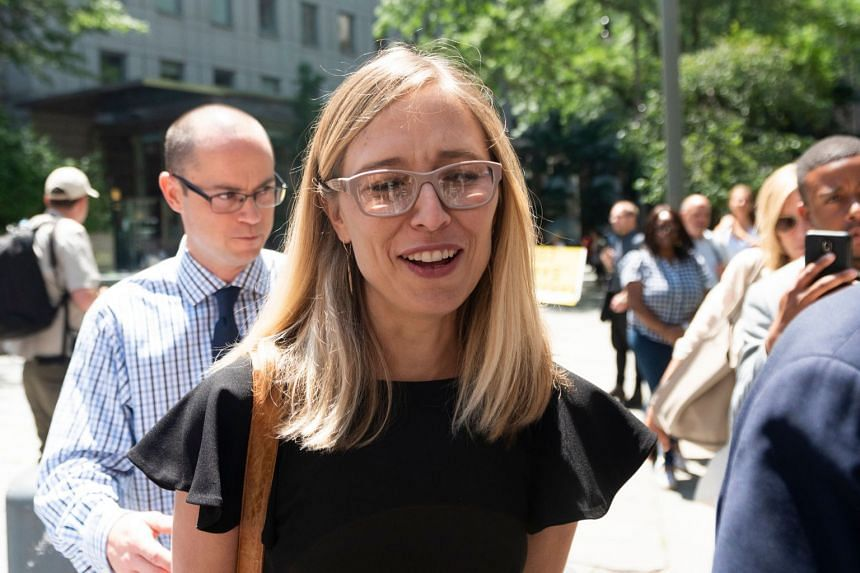 Alleged victim Annie Farmer leaves court after a bail hearing for Epstein in July 2019.