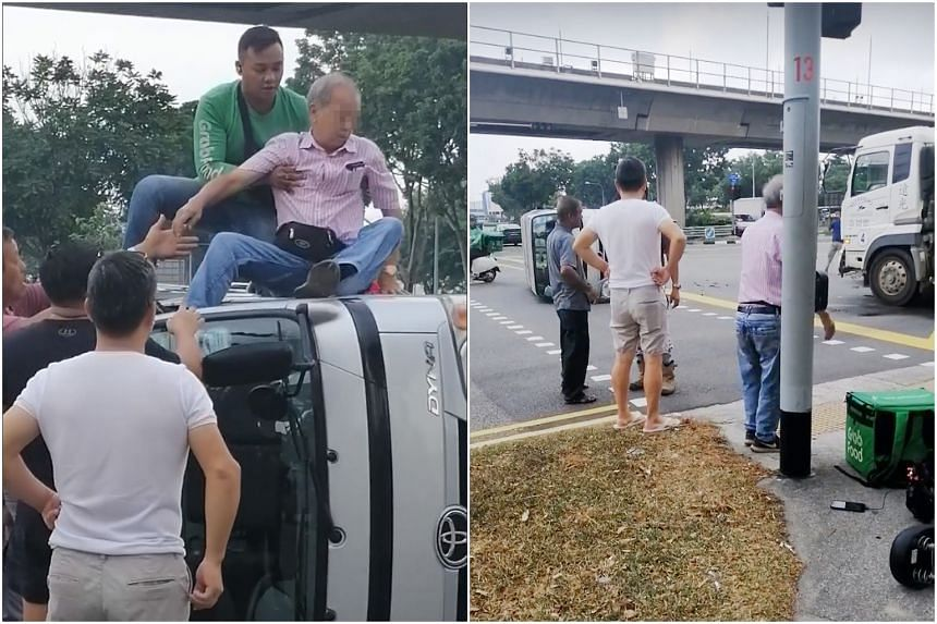 The elderly driver was trapped when the lorry flipped on its side after it collided with a vehicle from a cleaning company at Boon Lay.