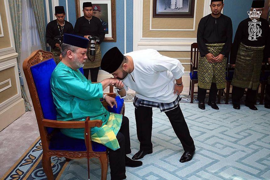 Johor's Sultan Ibrahim Sultan Iskandar with his son, Crown Prince Tunku Ismail Sultan Ibrahim.
