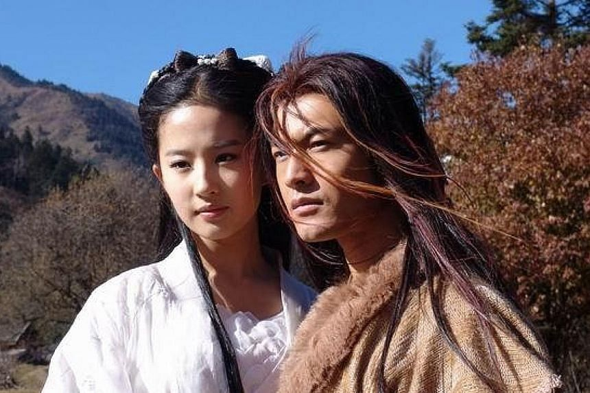 Huang Xiaoming and Liu Yifei in the new photoshoot (above) and playing lovers in The Return Of The Condor Heroes (2006, below).