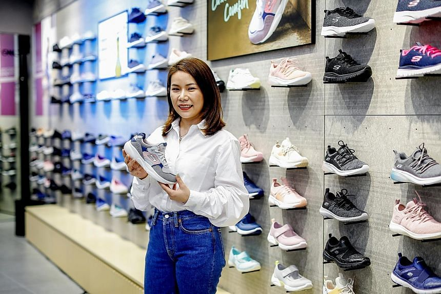 Ms Megan Zhang says one of the factors that has helped Skechers achieve growth despite the slowing economy is the athleisure trend, where people choose clothes typically designed for athletic activities as part of their everyday wear.