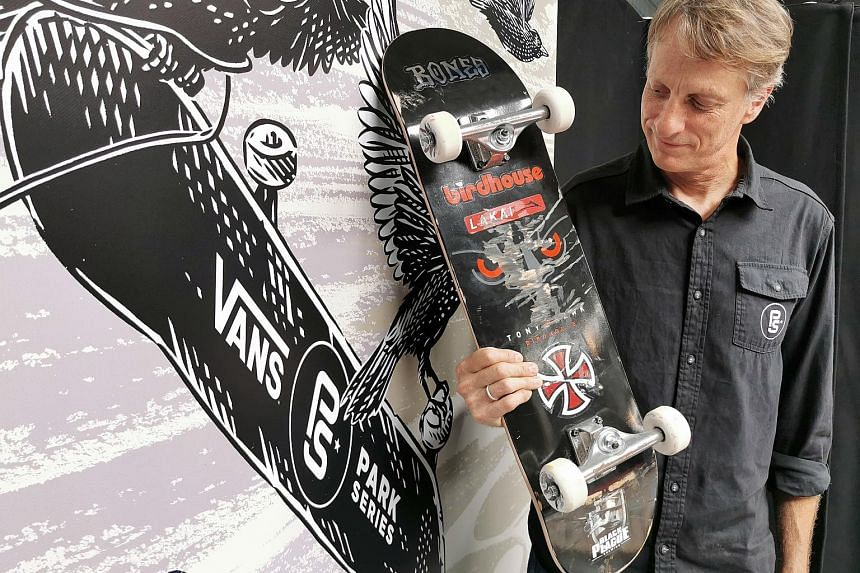 Skateboarding legend Tony Hawk at the Vans Park Series skateboarding competition in Paris on Saturday. Having the sport in the Olympics will inspire people to skate only for fame or fortune, he feels.