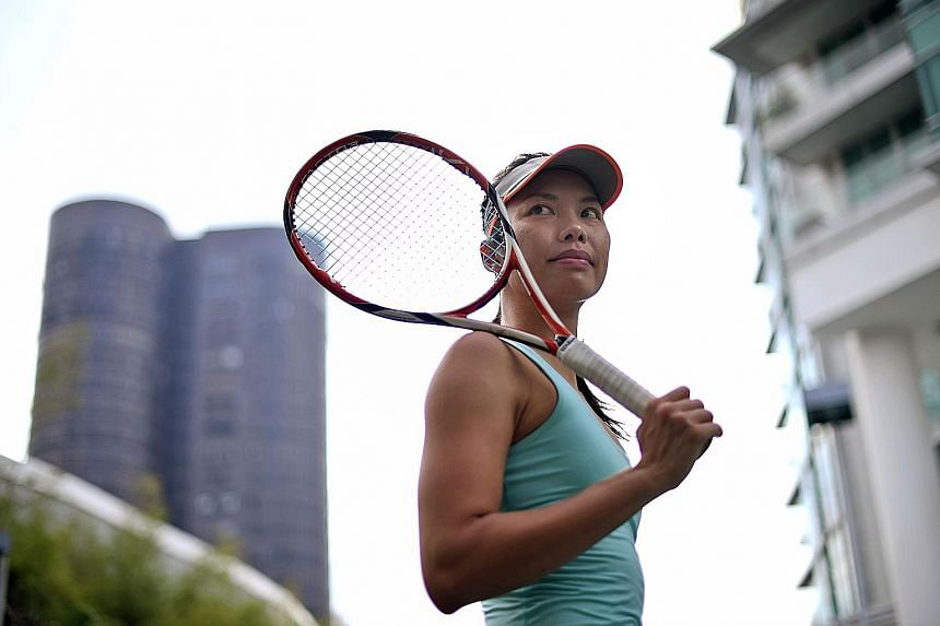 Getting a WTA ranking allows Sarah Pang to plan her tournament schedule and save on costs for flights and accommodation. ST PHOTO: DESMOND FOO