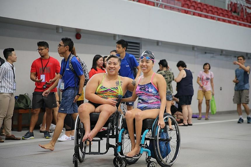 Theresa Goh (left) and Yip Pin Xiu are determined not to be affected by the uncertain coaching arrangement ahead of next month's world para swimming meet in London. ST PHOTO: ONG WEE JIN