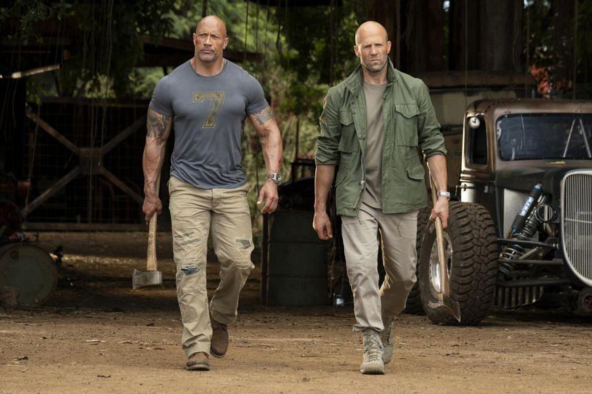Still from Hobbs & Shaw starring Dwayne Johnson (left) and Jason Statham.