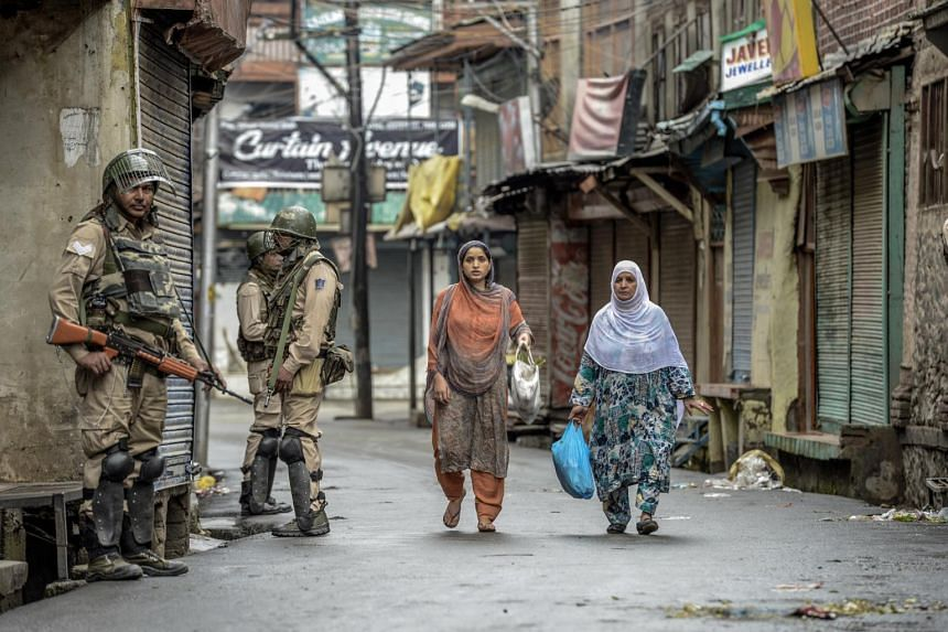 Security forces patrolling in Srinagar, India, on Aug 10, 2019.