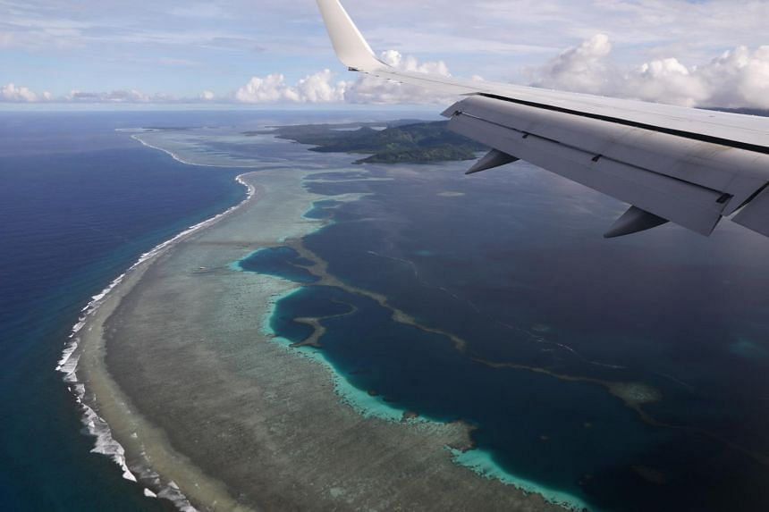 Kolonia in the Federated States of Micronesia seen from a plane carrying US Secretary of State Mike Pompeo, on Aug 5, 2019.