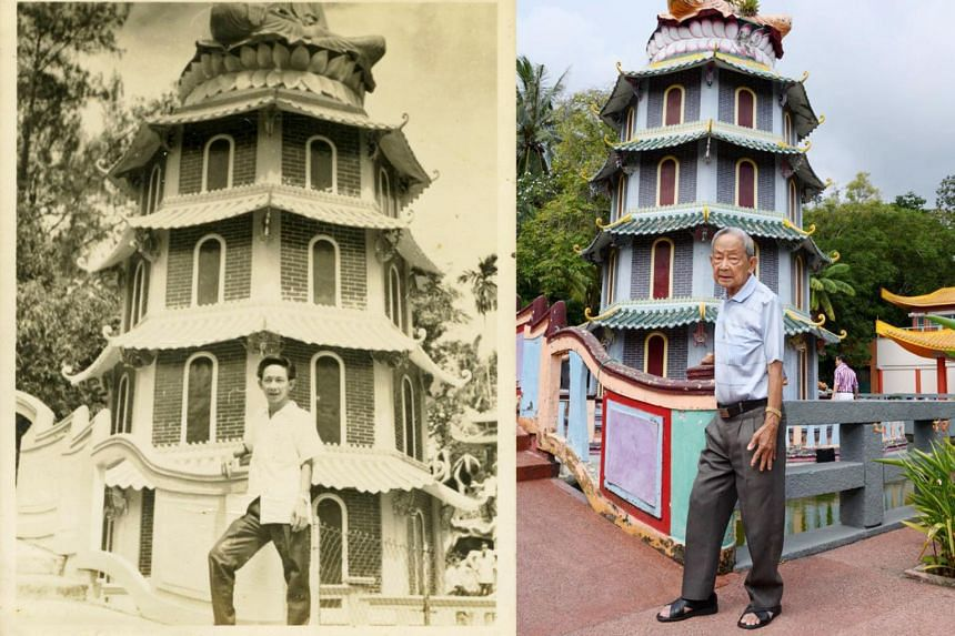 An old photo of Mr Soh Ah Bay, now 90, juxtaposed against a new shot by photographer Deanna Ng for her exhibition The Collective Memory: Haw Par Villa.