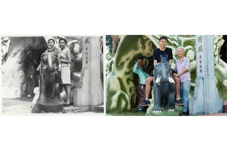 An old photo of Mr Koh Tong Wey and Madam Loh Yin Yeok, taken by Mr Koh Nia Chuan at Haw Par Villa, juxtaposed against a new shot by photographer Deanna Ng for her exhibition The Collective Memory: Haw Par Villa.