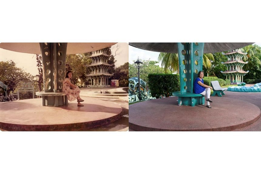 An old photo of Madam Siew Bing Ru at Haw Par Villa, juxtaposed against a new shot by photographer Deanna Ng for her exhibition The Collective Memory: Haw Par Villa.