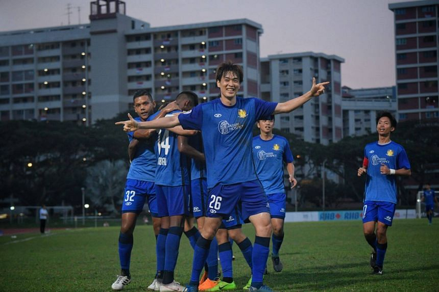 Hougang United players celebrating at the Bedok Stadium during a match against Geylang International, on Aug 5, 2018.