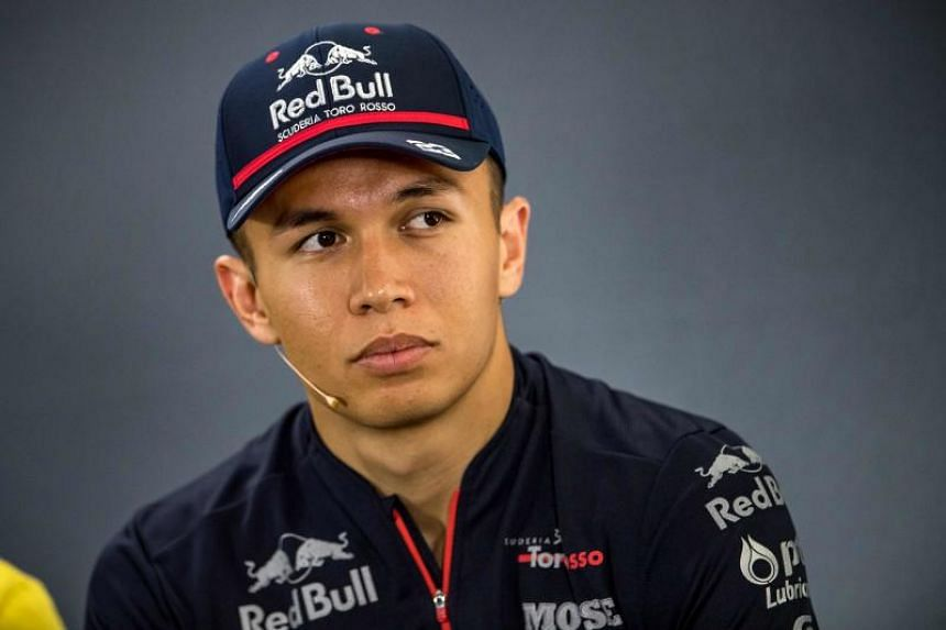 In a photo taken on July 25, 2019, Thai driver Alexander Albon looks on during the drivers' press conference ahead of the German Formula One Grand Prix at the Hockenheim racing circuit in Hockenheim, southern Germany.