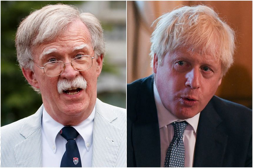 US National Security Adviser John Bolton (left) will become the most senior US official to meet British Prime Minister Boris Johnson since he succeeded Mrs Theresa May as UK government leader in July 2019.