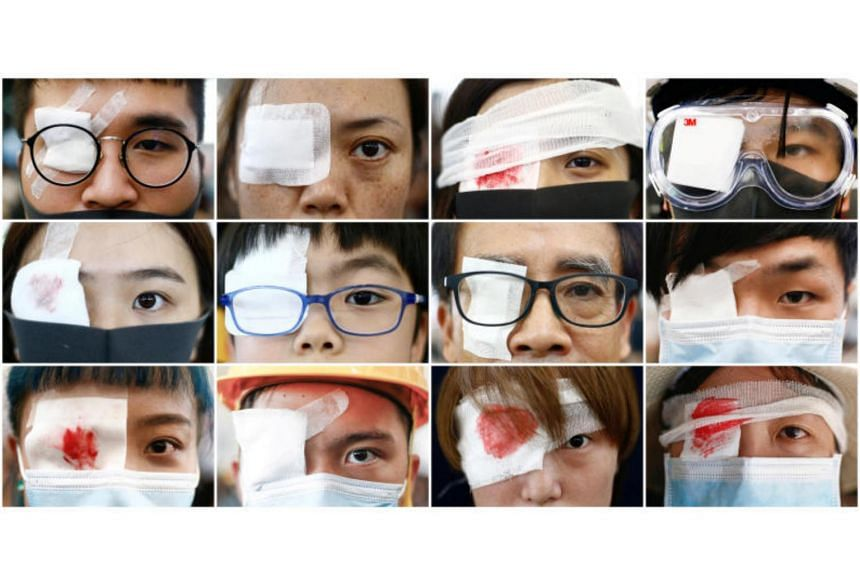 A combination picture shows anti-extradition bill protesters wearing an eyepatch, in reference to a demonstrator that was injured during clashes with police during a protest inside the airport terminal.