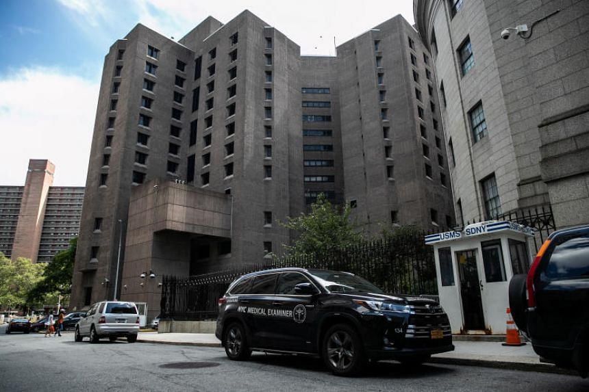A medical examiner vehicle seen at the Metropolitan Correctional Center jail where financier Jeffrey Epstein was found dead in Manhattan, New York, on Aug 10, 2019.
