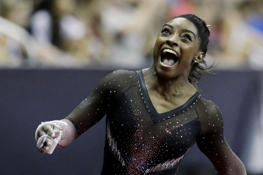 Four-time Olympic gold medallist  Simone Biles (above), who will head to the 2020 Tokyo Olympics as the prohibitive favorite, finished with a total score of 118.500 to beat Sunisa Lee (113.550) and Grace McCallum (111.850).