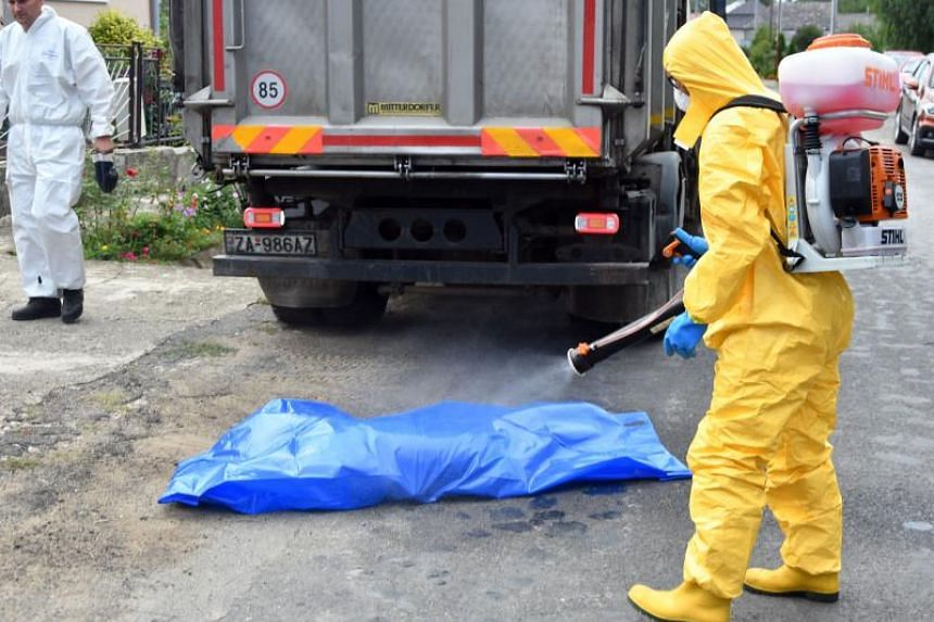 A worker throws antiseptic in a rendering bag after carrying out the ordered preventive killing of pigs in one of the domestic farms in Slovakia.