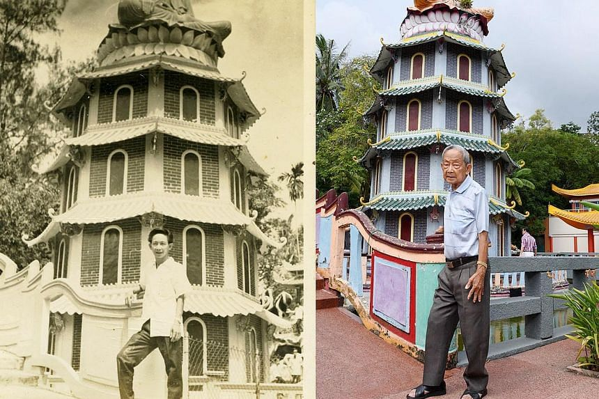 An old photo of Mr Soh Ah Bay as a young man (far left) posing in front of a pagoda at Haw Par Villa, juxtaposed against a new shot of the now 90-year-old (left) by photographer Deanna Ng.