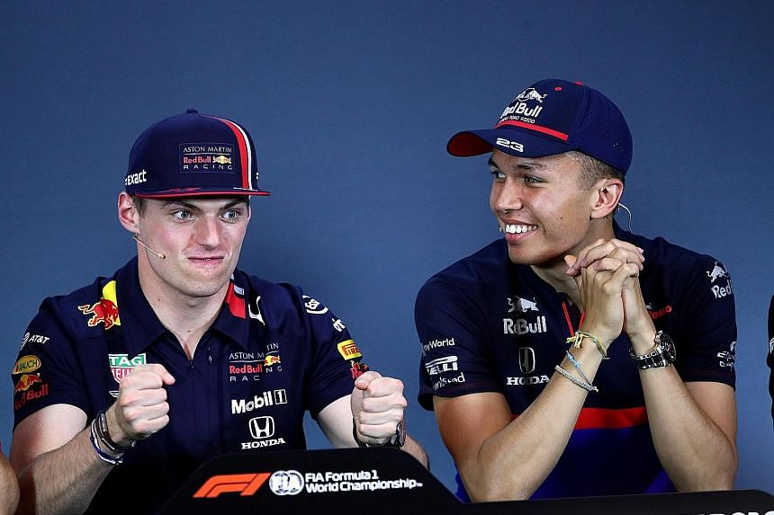 Thailand's Alexander Albon (right) will join Dutch sensation Max Verstappen at Red Bull from the next race in Belgium till the end of the 2019 Formula One season. PHOTO: REUTERS