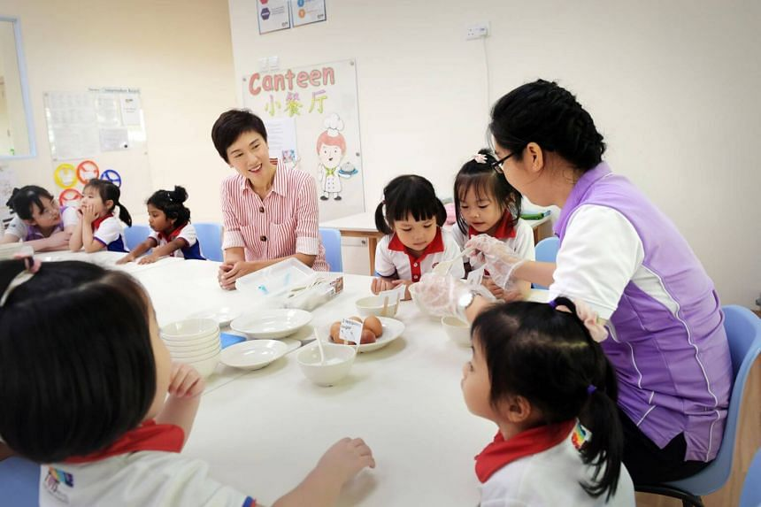 Manpower Minister Josephine Teo at a PCF Sparkletots pre-school earlier this month.
