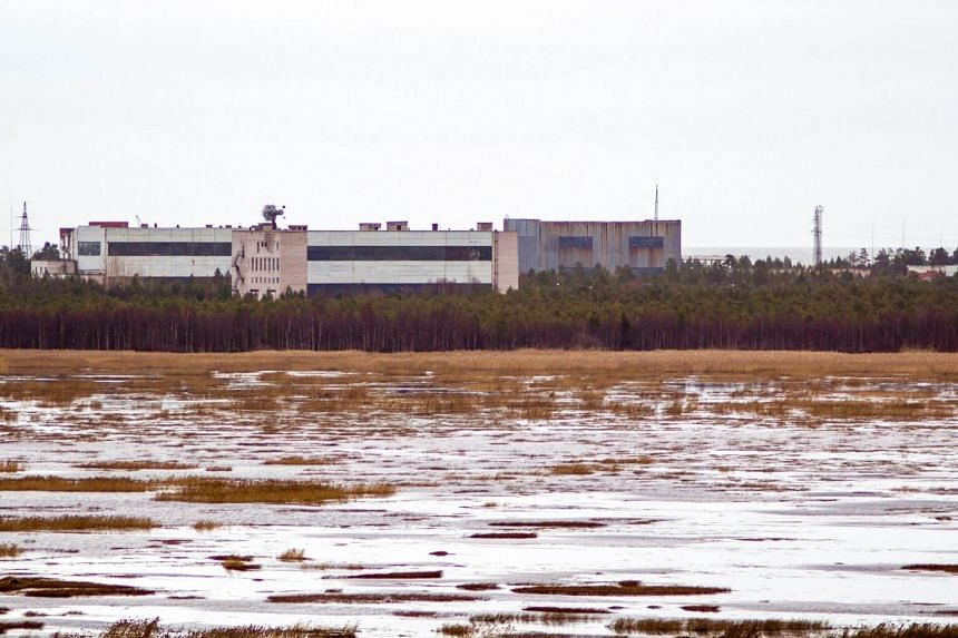 A picture taken on Nov 9, 2011, shows buildings at a military base in the small town of Nyonoska in Arkhangelsk region, Russia.