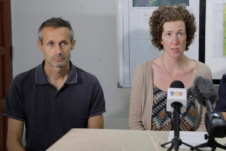 Sebastien Philipe and Meabh Quoirin, parents of 15-year-old Irish girl Nora Anne Quoirin who went missing, speak during a news conference in Seremban, Malaysia, on Aug 12, 2019.