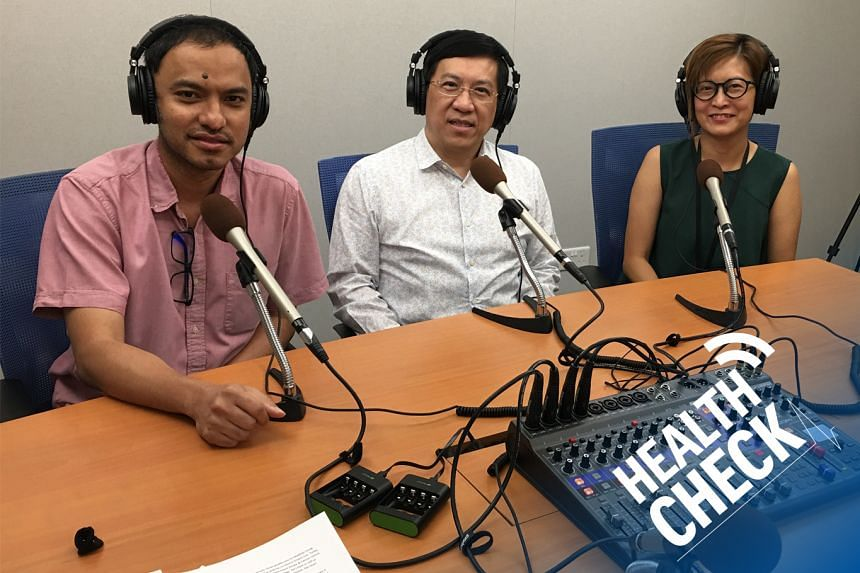 In this Health Check podcast on how to prevent cardiovascular disease, like heart attacks or strokes, correspondent Joyce Teo (right) and podcasting head Ernest Luis (left) host Dr Michael Lim, the medical director of MWH Heart, Stroke & Cancer Centr