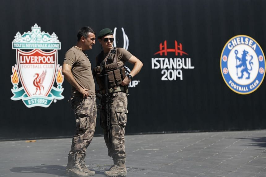 Turkish police officers in Istanbul provide security outside Besiktas Park on Aug 11, 2019. The match between Liverpool and Chelsea will be played on Aug 14, 2019.