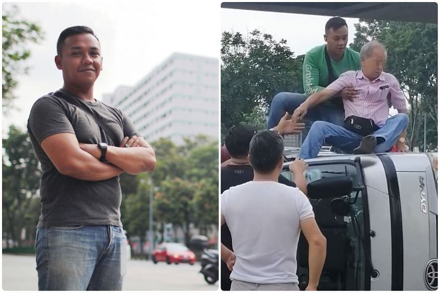 GrabFood delivery rider Muhammad Riau Alfian helped to rescue a trapped man from a flipped truck on Aug 10, 2019.