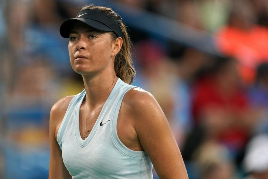 Maria Sharapova reacts against Alison Riske during the Western and Southern Open tennis tournament, on Aug 12.