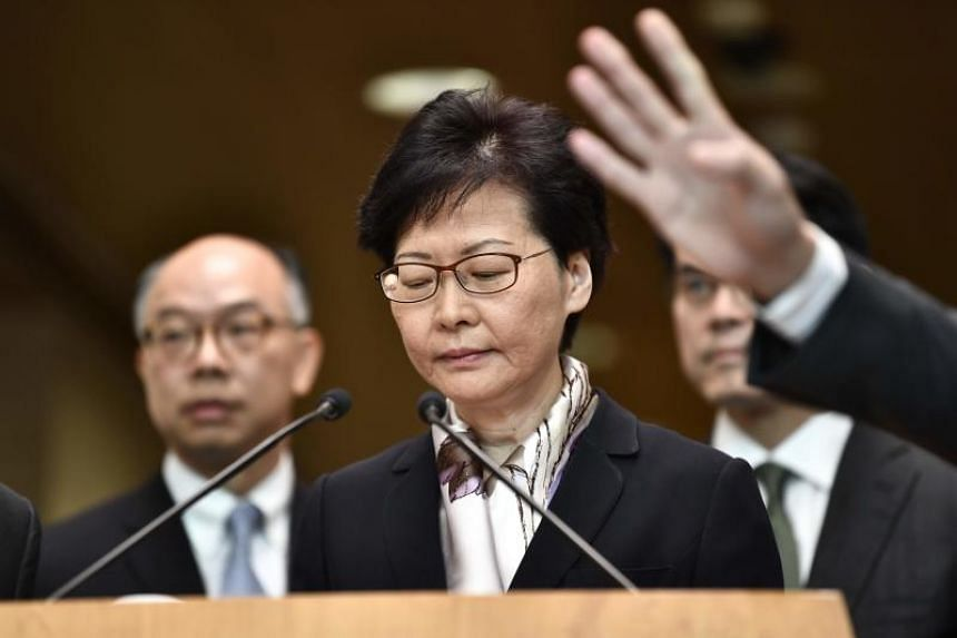 Hong Kong Chief Executive Carrie Lam at a press conference in Hong Kong on August 5, 2019.