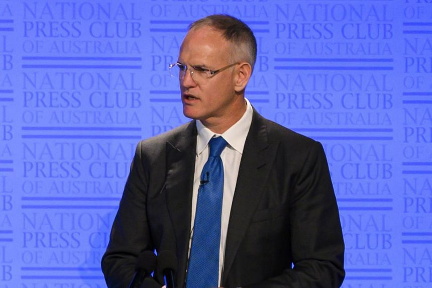 In a photo taken on June 26, News Corp Executive Chairman Michael Miller speaks during a National Press Club panel discussion in Canberra, Australia.