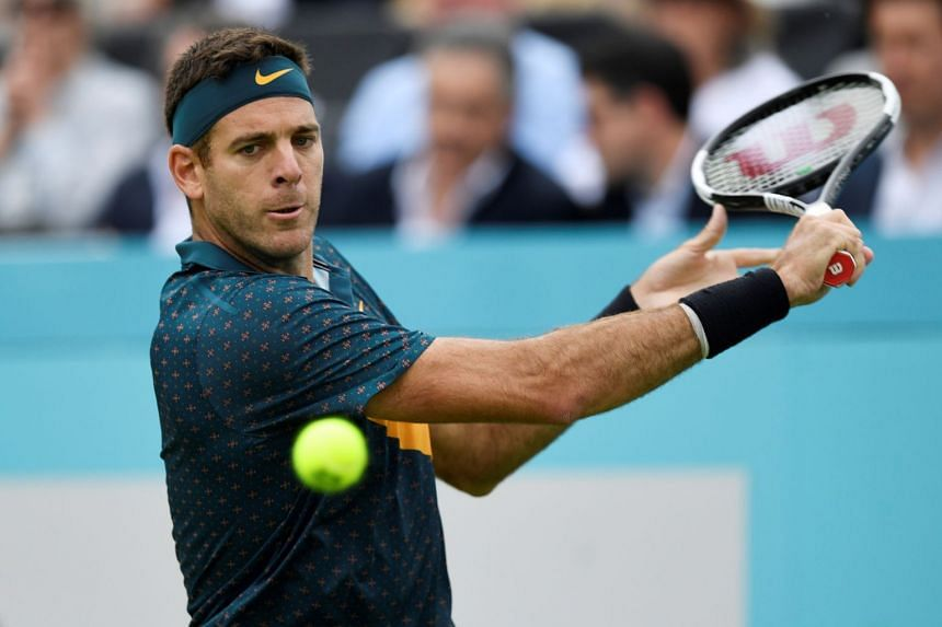 Del Potro (above) re-fractured his kneecap during the Queen's Club Championships in June 2019.