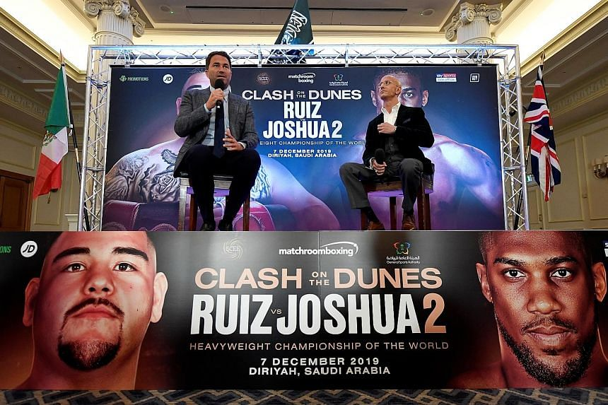 Promoter Eddie Hearn (left) dismissed concerns about the fight being held in Saudi Arabia, saying he is a trailblazer for doing so and that other sports events had also been staged in the kingdom.