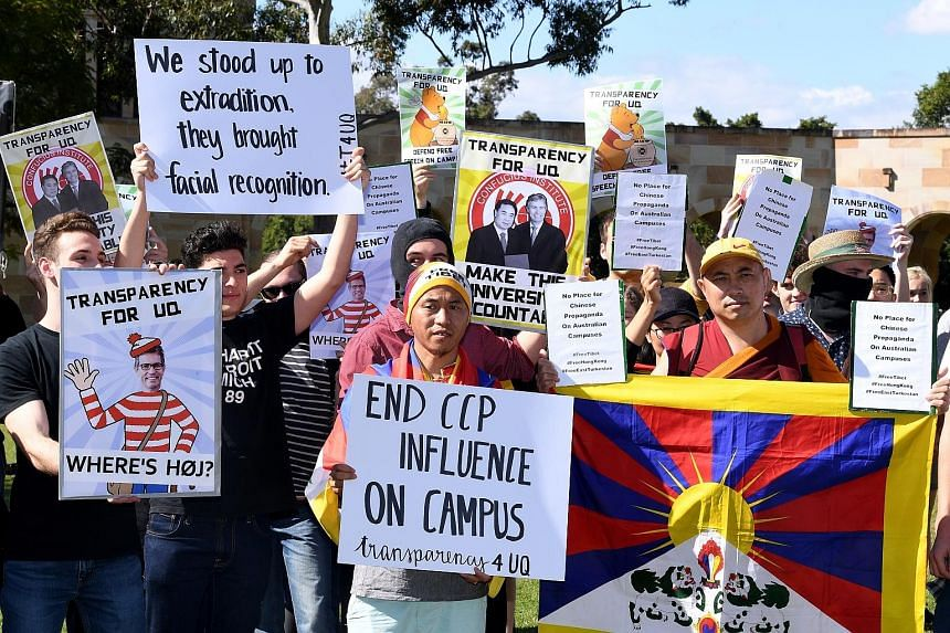 Students gathering during a protest at the University of Queensland in Brisbane, Australia, on July 31. Protesters were calling for the university to close its Confucius Institute - a Chinese government-funded education centre - over concerns that th